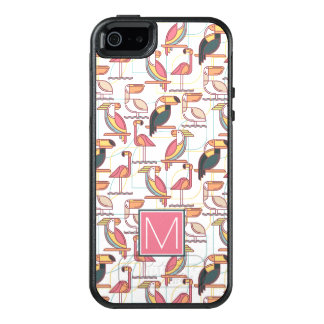 Pattern With Tropical Birds | Add Your Initial OtterBox iPhone 5/5s/SE Case