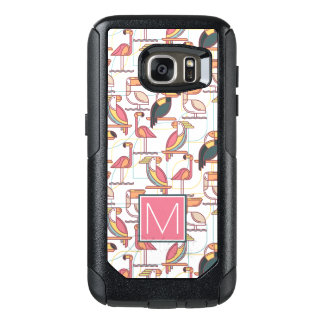 Pattern With Tropical Birds | Add Your Initial OtterBox Samsung Galaxy S7 Case
