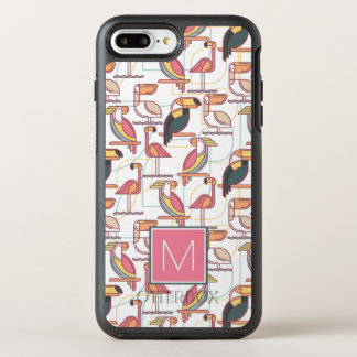 Pattern With Tropical Birds | Add Your Initial OtterBox Symmetry iPhone 7 Plus Case