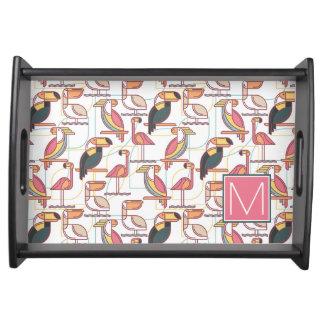 Pattern With Tropical Birds | Add Your Initial Serving Tray