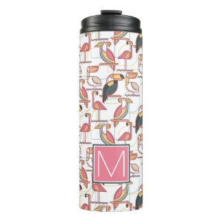 Pattern With Tropical Birds   Add Your Initial Thermal Tumbler