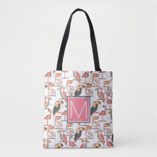 Pattern With Tropical Birds | Add Your Initial Tote Bag