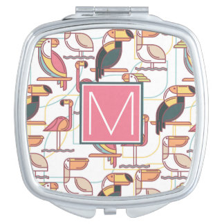 Pattern With Tropical Birds   Add Your Initial Vanity Mirrors