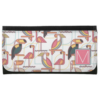 Pattern With Tropical Birds | Add Your Initial Wallets