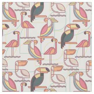Pattern With Tropical Birds Fabric