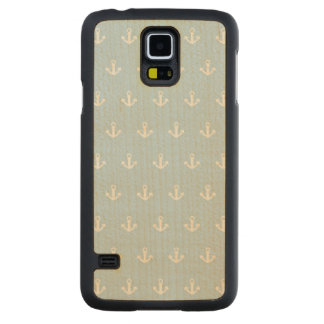Pattern with white anchors on blue carved maple galaxy s5 case