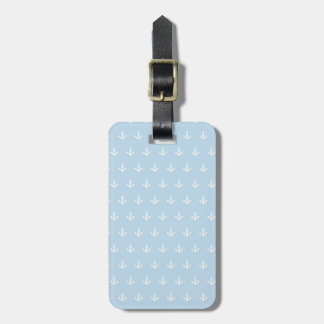 Pattern with white anchors on blue luggage tag