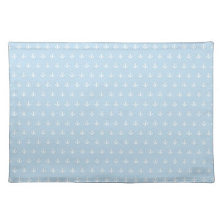 Pattern with white anchors on blue placemat