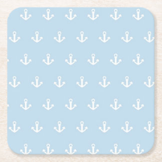 Pattern with white anchors on blue square paper coaster