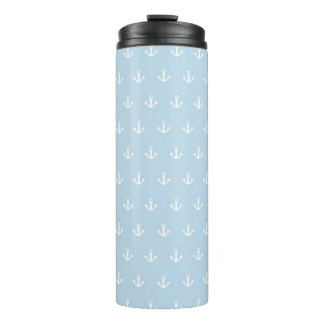 Pattern with white anchors on blue thermal tumbler