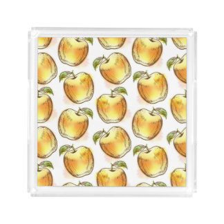 Pattern with yellow apple acrylic tray