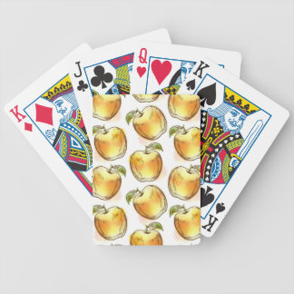 Pattern with yellow apple bicycle playing cards