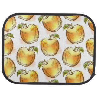 Pattern with yellow apple car mat