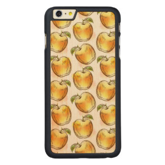 Pattern with yellow apple carved maple iPhone 6 plus case