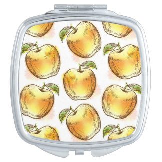 Pattern with yellow apple compact mirrors