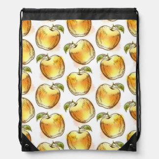 Pattern with yellow apple drawstring bag