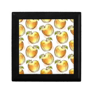 Pattern with yellow apple gift box