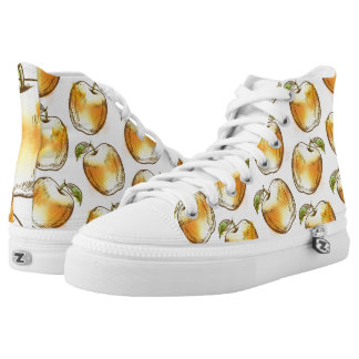 Pattern with yellow apple high tops