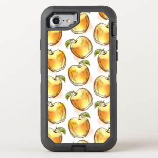 Pattern with yellow apple OtterBox defender iPhone 8/7 case
