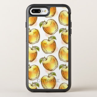 Pattern with yellow apple OtterBox symmetry iPhone 8 plus/7 plus case