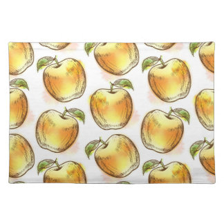 Pattern with yellow apple placemat