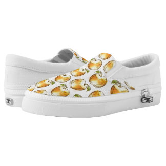 Pattern with yellow apple slip on shoes