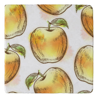 Pattern with yellow apple trivet