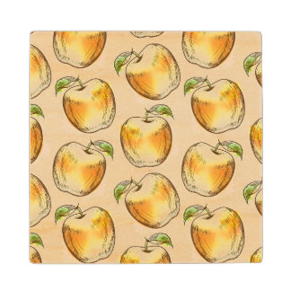 Pattern with yellow apple wood coaster