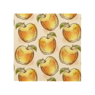 Pattern with yellow apple wood print