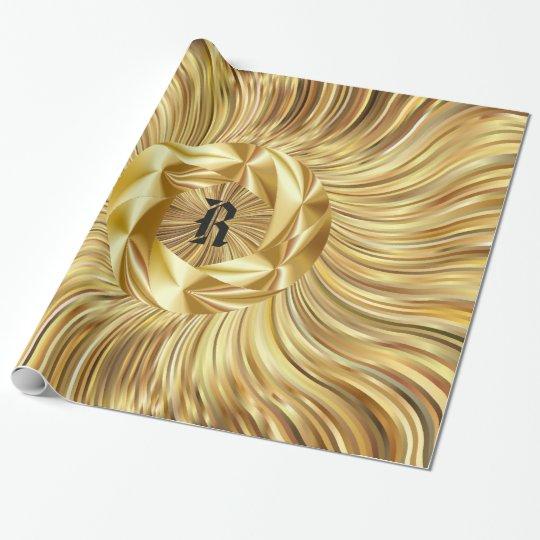 Pattern Wrapping Paper Black  Gold Monogram