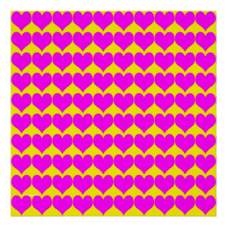 Pattern: Yellow Background with Pink Hearts Poster