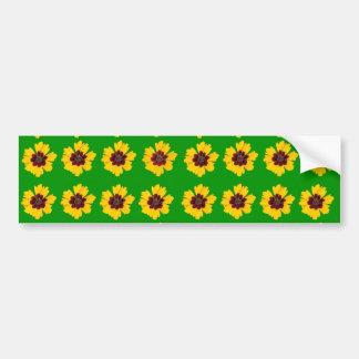 pattern yellow daisy on green background bumper sticker