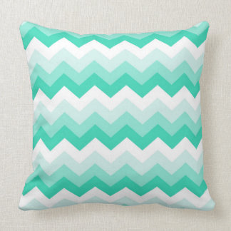 Pattern zigzags (turquoise, blank and green) cushion