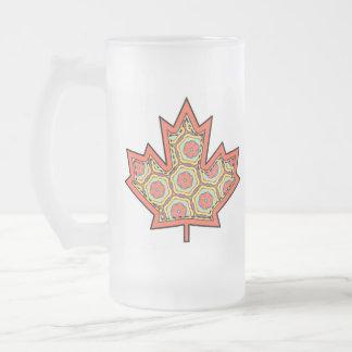 Patterned Applique Stitched Canadian Maple Leaf  4 Frosted Glass Beer Mug