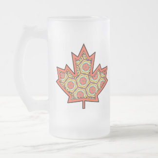 Patterned Applique Stitched Canadian Maple Leaf  4 Frosted Glass Mug