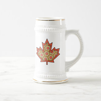 Patterned Applique Stitched Canadian Maple Leaf  4 Beer Steins
