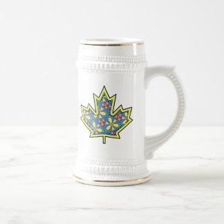 Patterned Applique Stitched Maple Leaf  01 Beer Steins