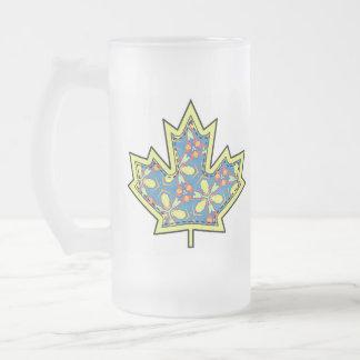 Patterned Applique Stitched Maple Leaf  01 Frosted Glass Mug