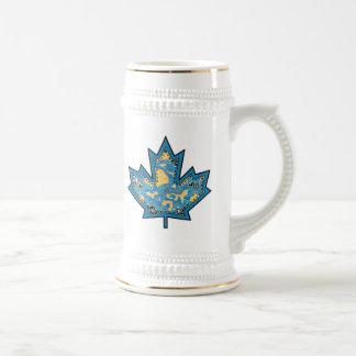 Patterned Applique Stitched Maple Leaf  10 Beer Steins