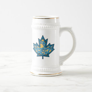 Patterned Applique Stitched Maple Leaf  10 Beer Steins