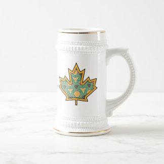 Patterned Applique Stitched Maple Leaf  11 Beer Steins
