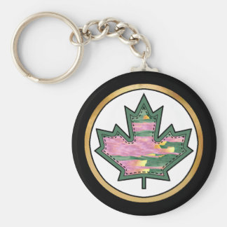 Patterned Applique Stitched Maple Leaf  11 Basic Round Button Key Ring