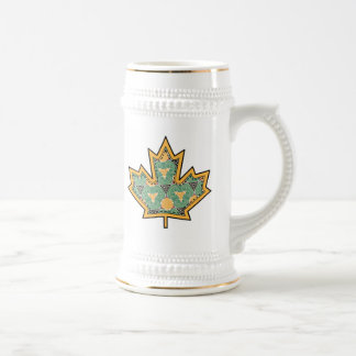 Patterned Applique Stitched Maple Leaf  11 Beer Steins