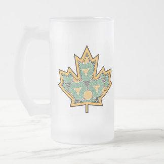 Patterned Applique Stitched Maple Leaf  11 Frosted Glass Mug