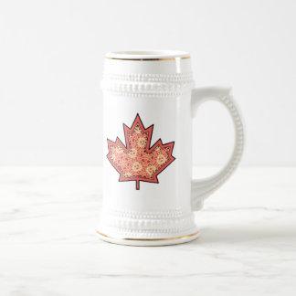 Patterned Applique Stitched Maple Leaf  12 Beer Steins