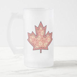 Patterned Applique Stitched Maple Leaf  12 Frosted Glass Mug