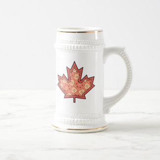 Patterned Applique Stitched Maple Leaf  12 Beer Steins