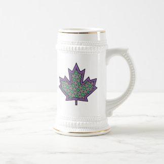 Patterned Applique Stitched Maple Leaf  16 Beer Steins