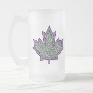 Patterned Applique Stitched Maple Leaf  16 Frosted Glass Mug