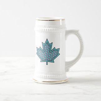 Patterned Applique Stitched Maple Leaf  17 Beer Steins